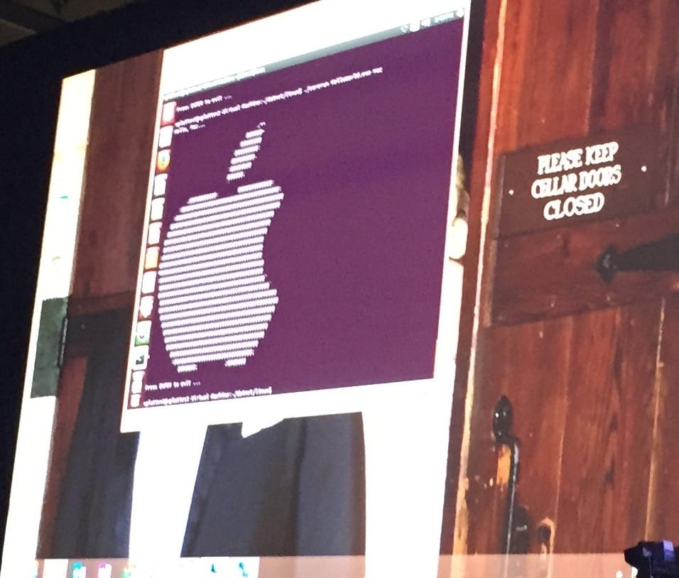 The Apple logo show by a .Net application running on Ubuntu.