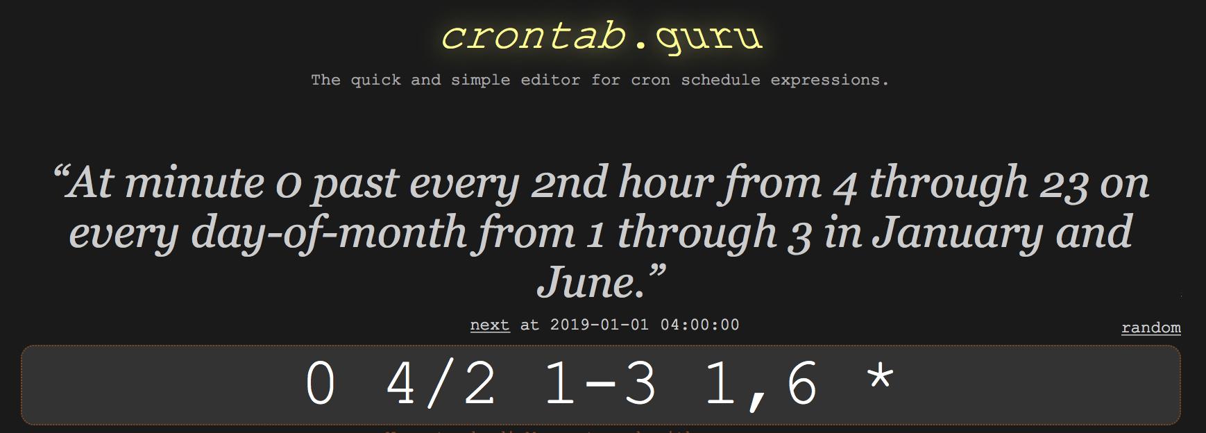 Simplify your crontab entries with crontab guru