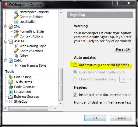 Disable StyleCop Upgrade Dialog
