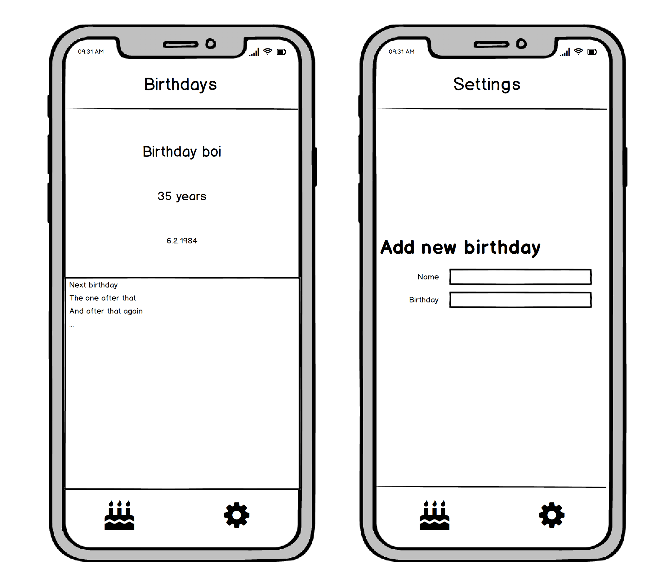 Mock-up of the example app